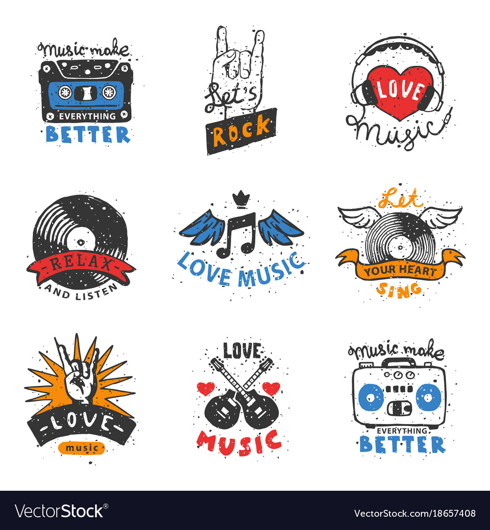 Set of vintage musical labels hand drawn templates