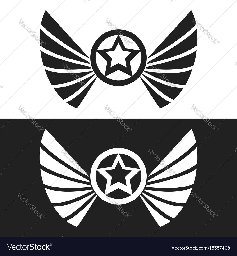 Star and wings logo vector image