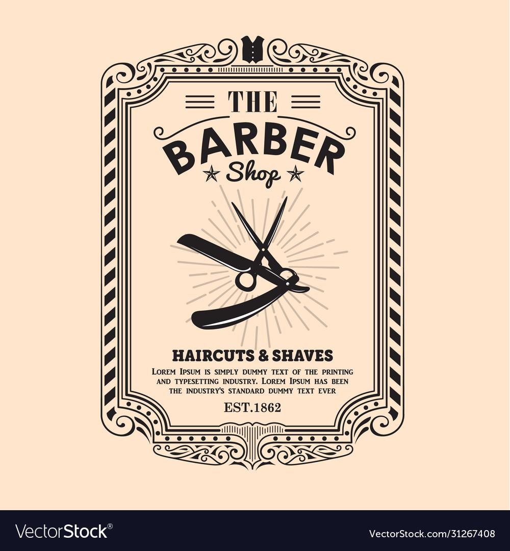 Vintage frame border retro design label barber
