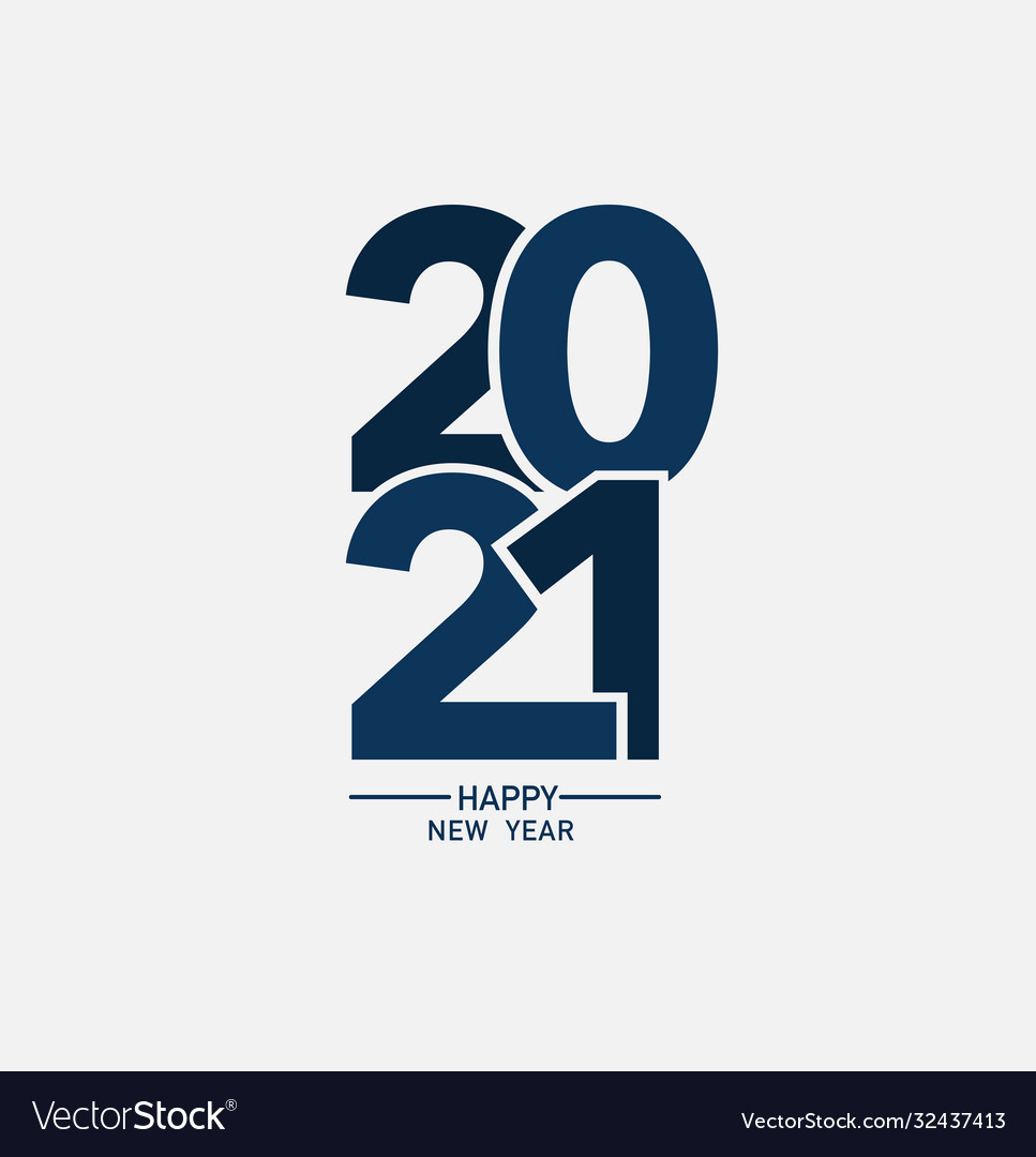 2021 happy new year logo text design