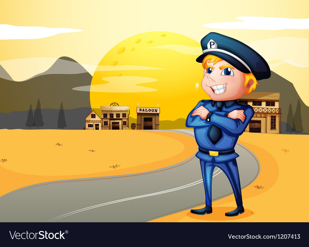 A police at the street in the middle of the night vector image