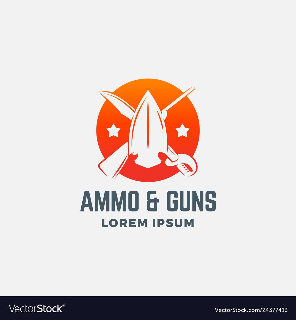 Ammo and guns abstract icon symbol or logo