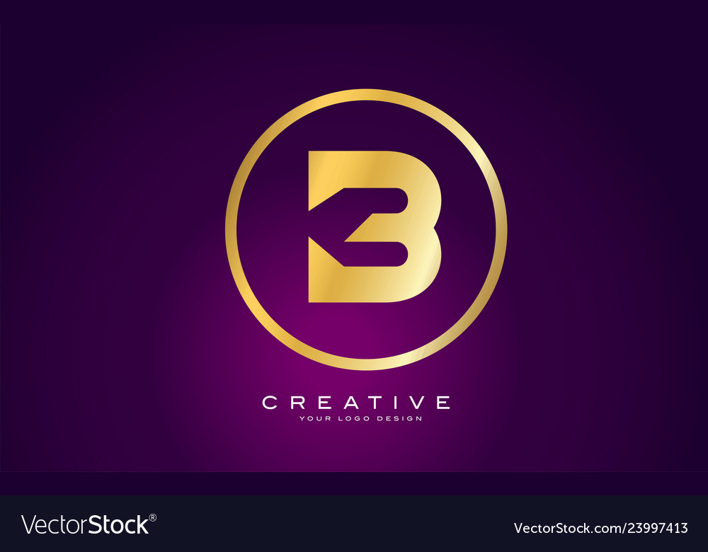 B letter gold logo design modern b icon with