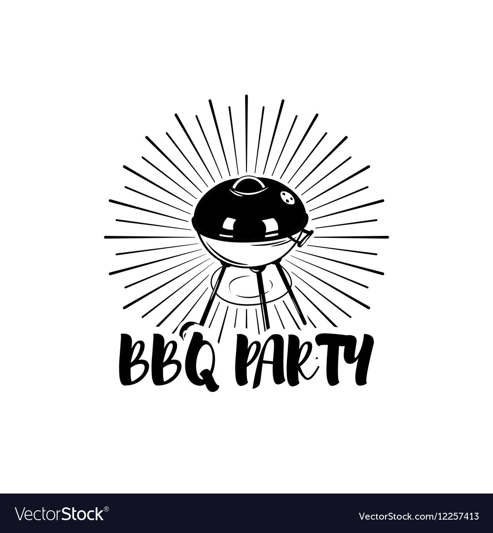 BBQ Party Badge Grill label isolated on white