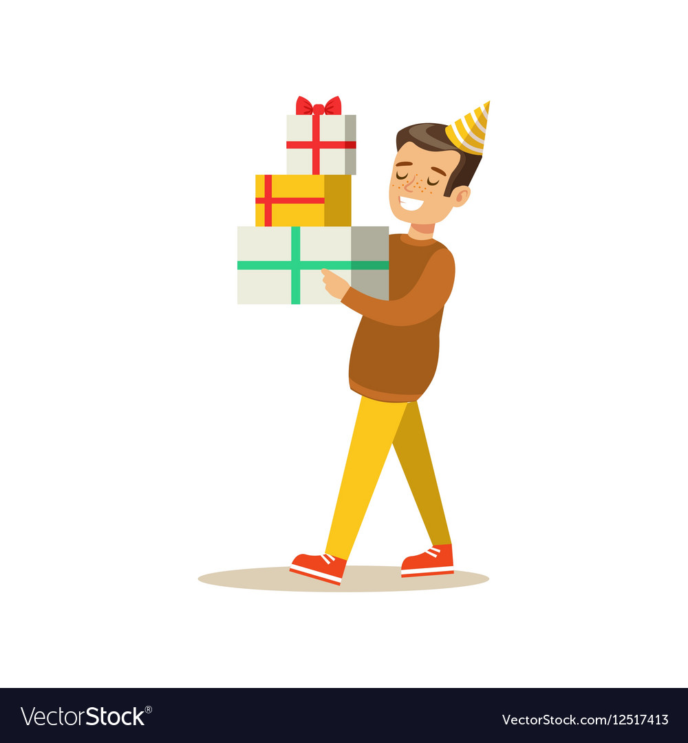 Boy Carrying Piled Presents Kids Birthday Party