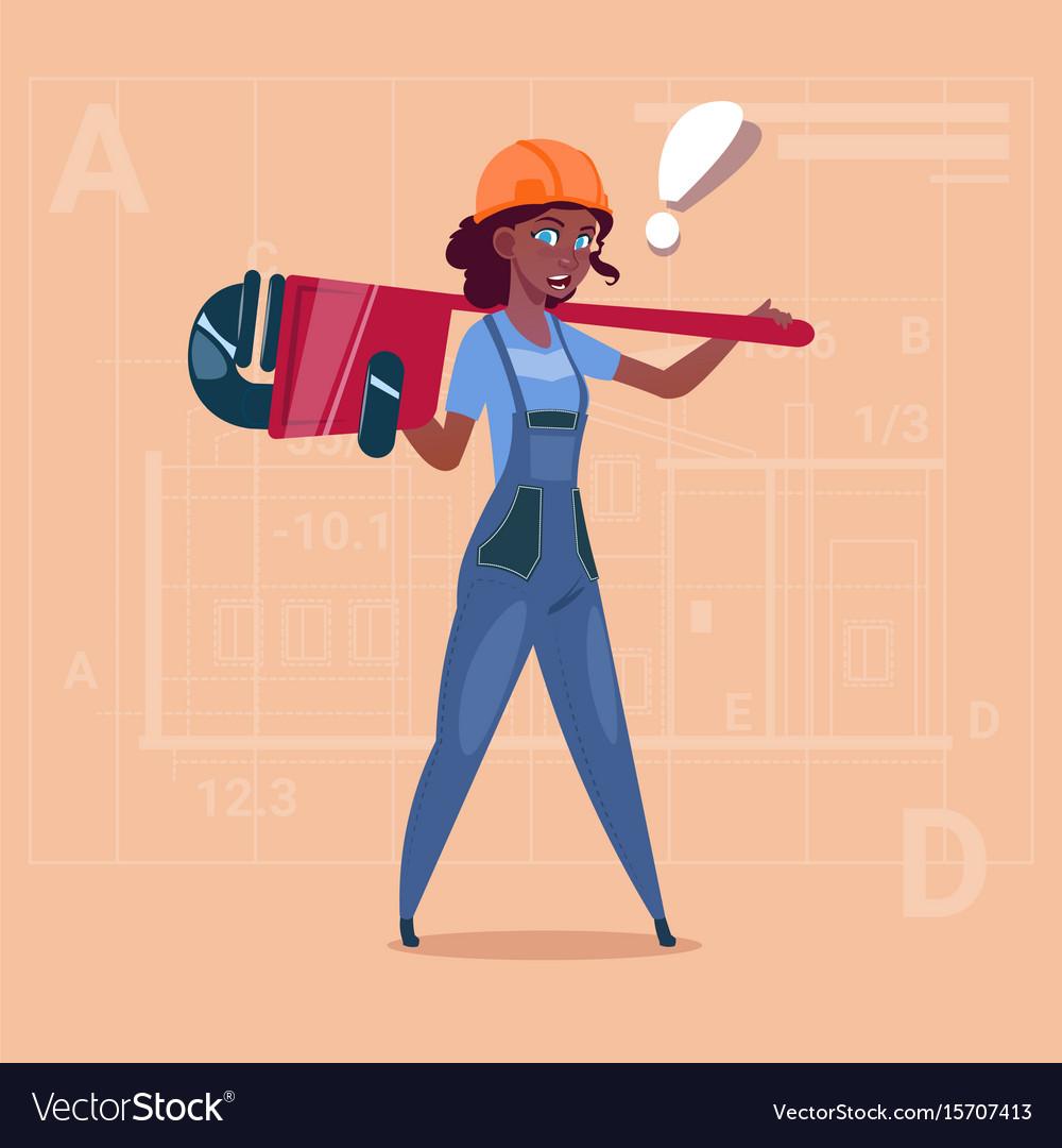 Cartoon female builder wearing uniform and helmet
