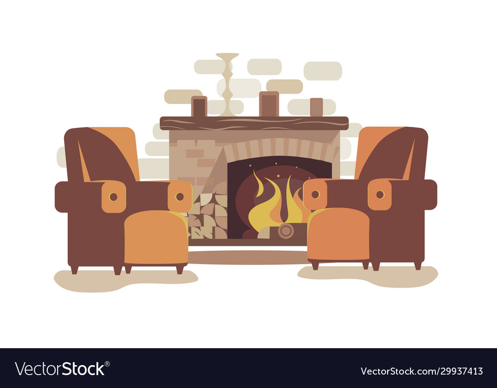 Cozy fireplace at home