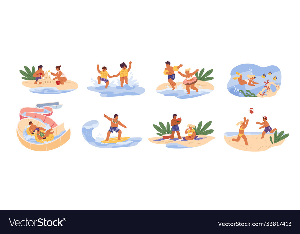 Cute children play games on summer beach siblings