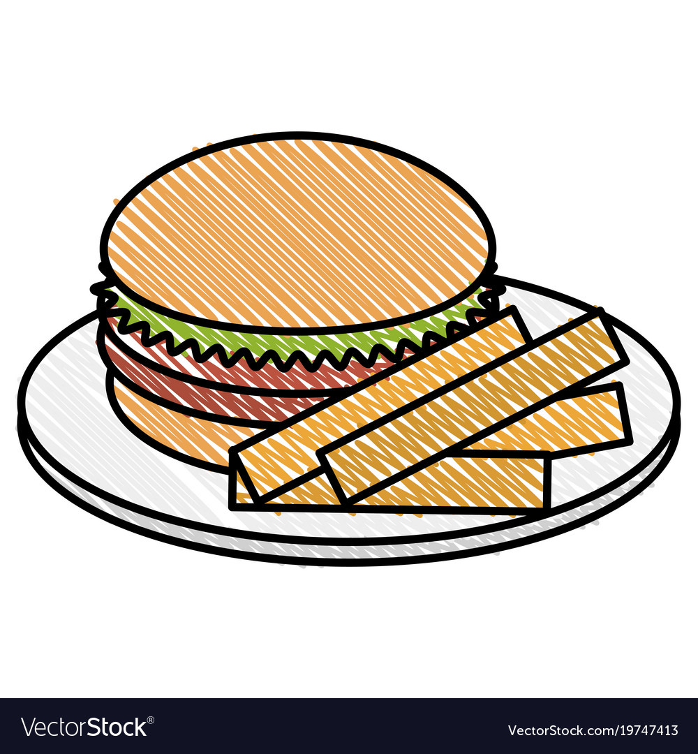 Dish with french fries and burger