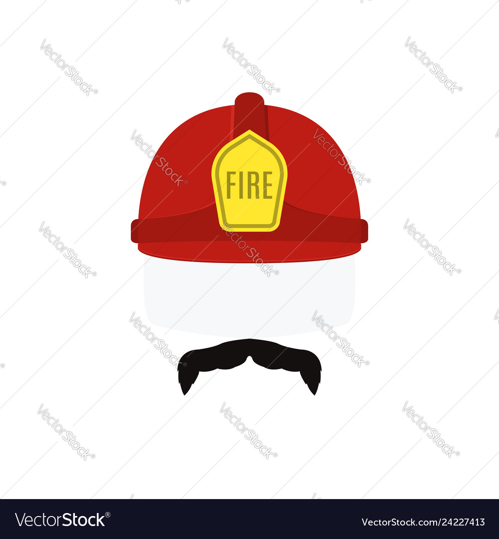 Face of fireman in red helmet and mustache