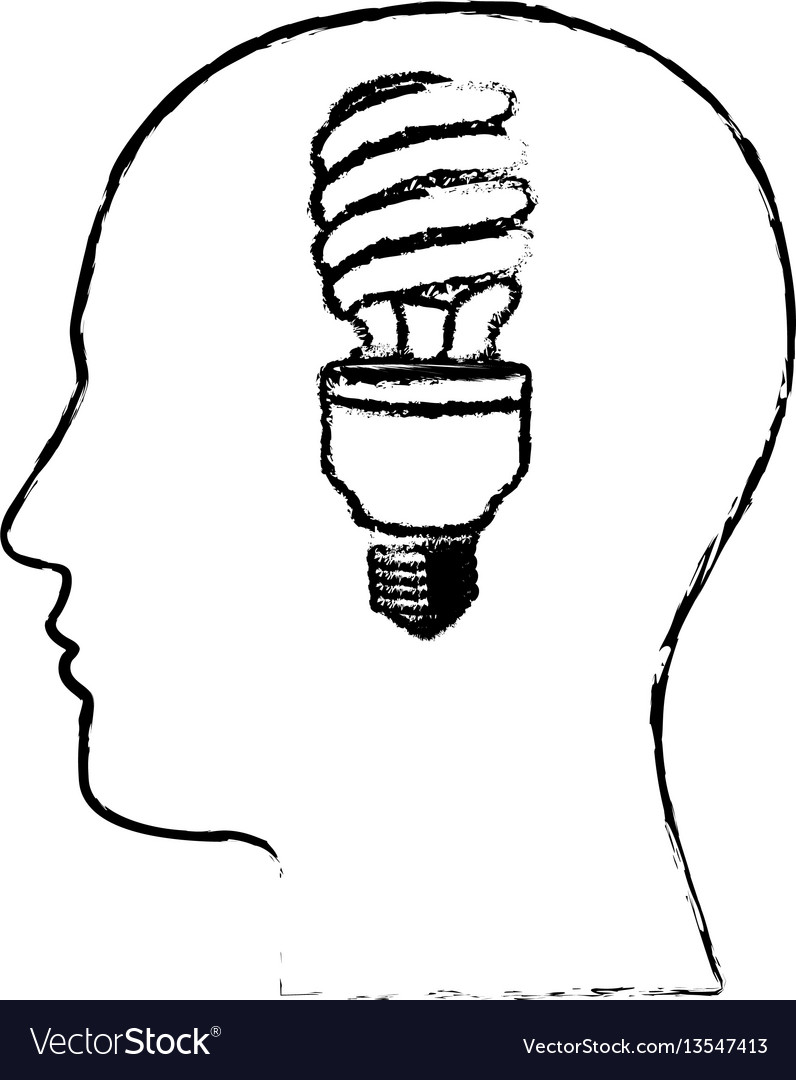 Figure man with save bulb in the brain icon
