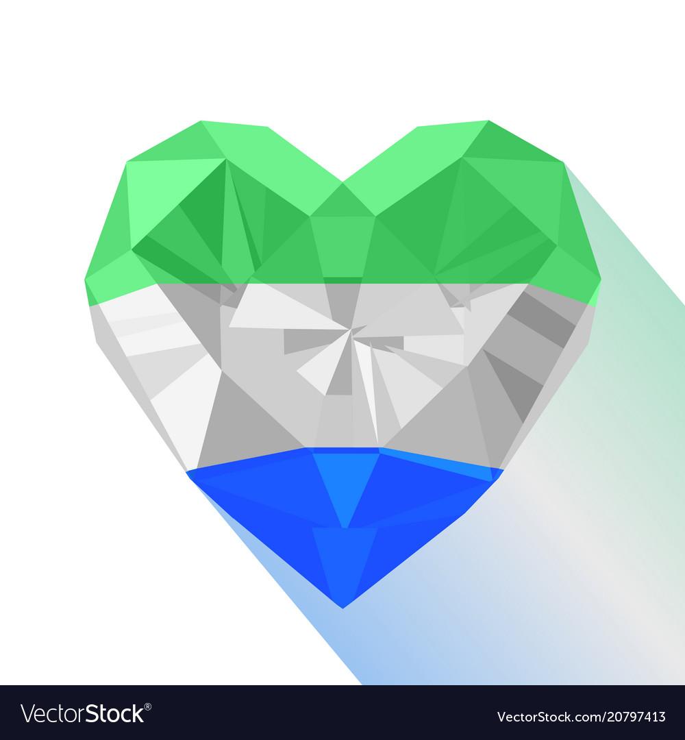 Flat style logo symbol of love sierra leone