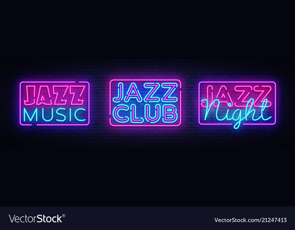 Jazz music neon signs collection jazz