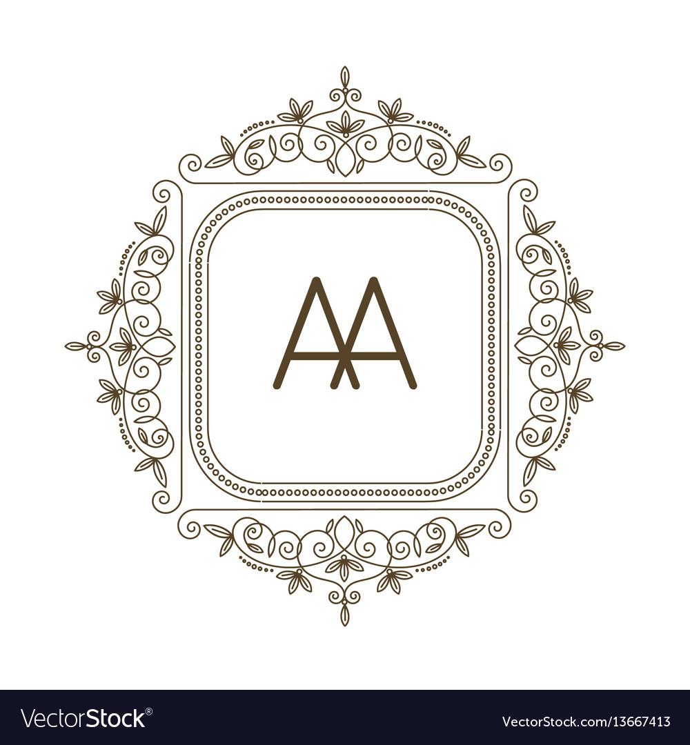 Monogram a logo and text badge emblem line art