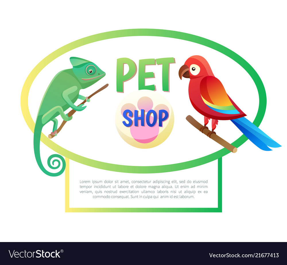 Pet shop poster with animals