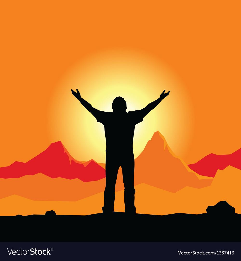 Prayer silhouette vector image