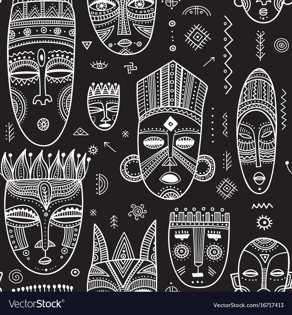 Seamless pattern with african ethnic tribal masks