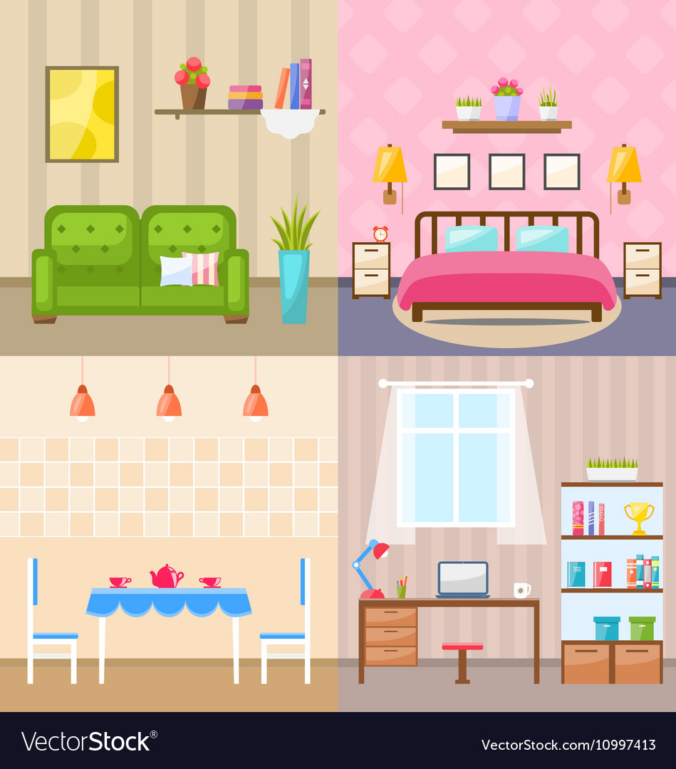Set Room Interiors with Furniture Flat Icons