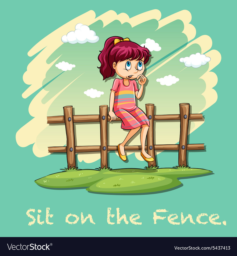 Sit on the fence idiom vector image