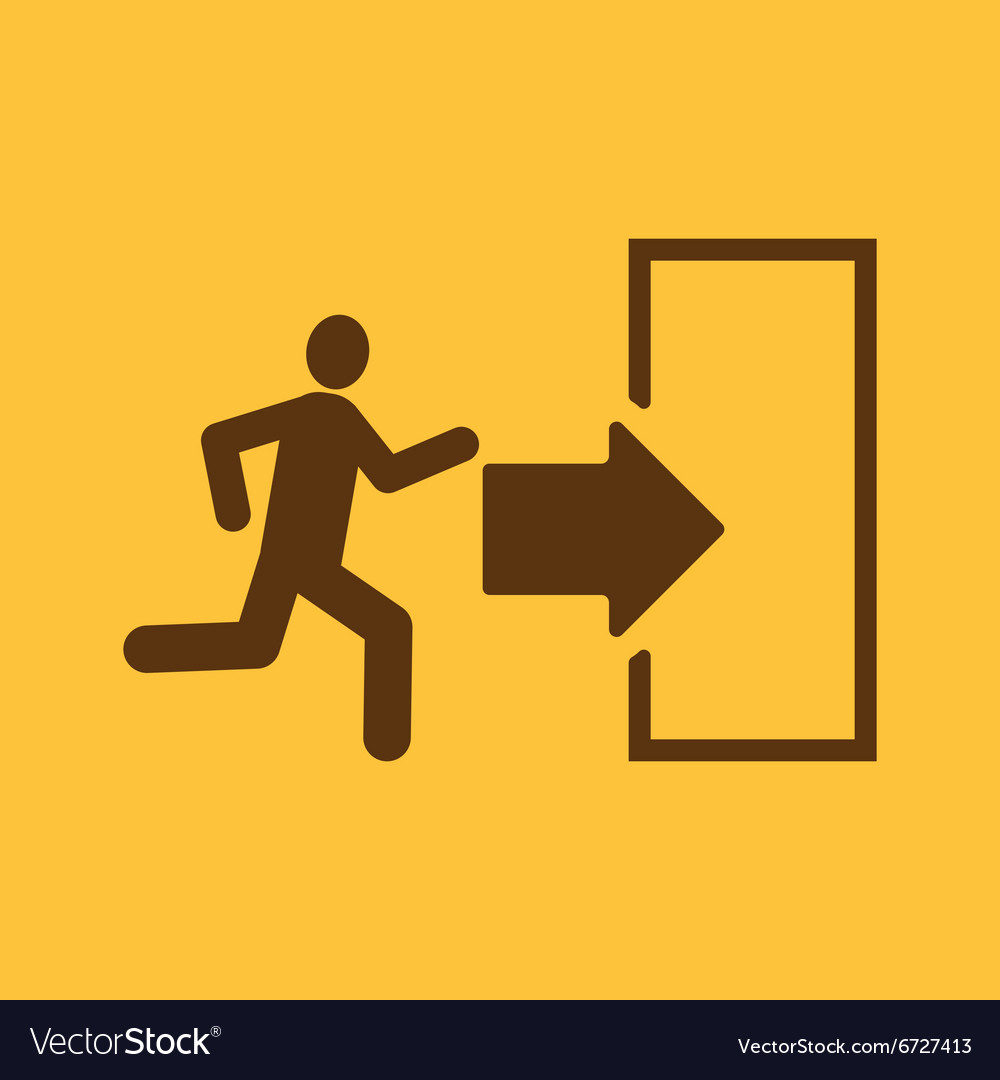 the exit icon emergency exit symbol flat vector image