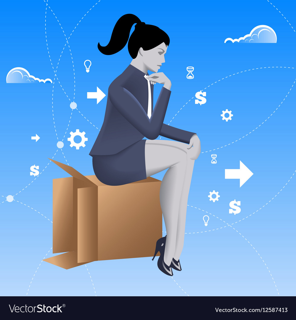 Thinking outside of the box business concept vector image