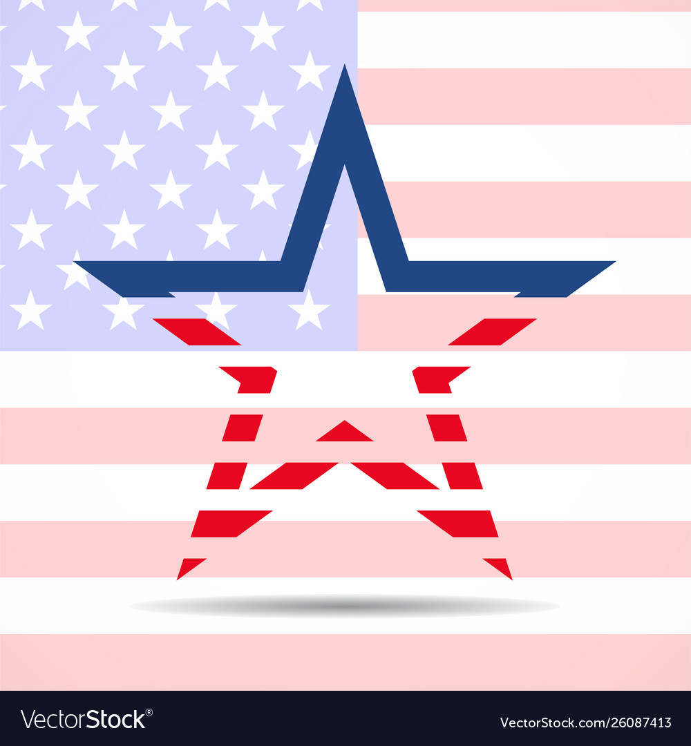 Usa flag in star shape american star