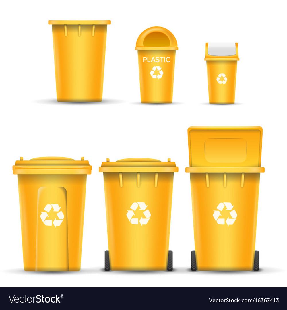 Yellow recycling bin bucket for plastic