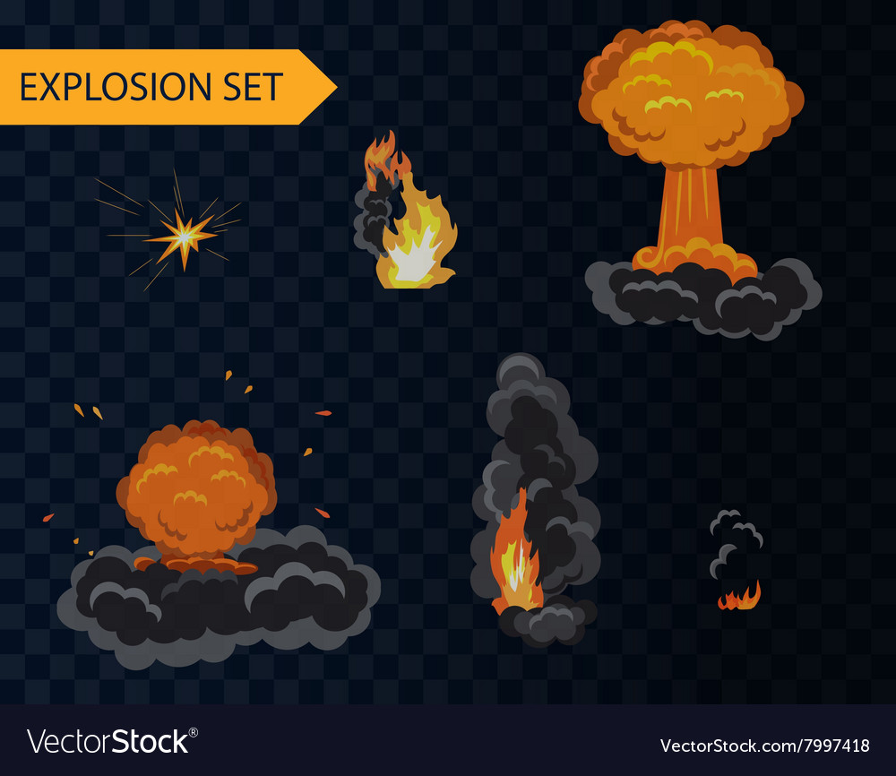 Cartoon explosion animation effect set with smoke
