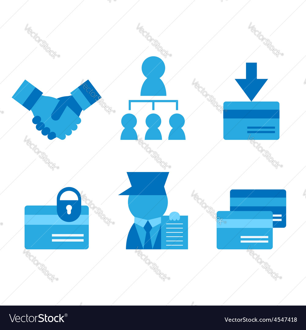 credit card business card partnerships flat icons vector image