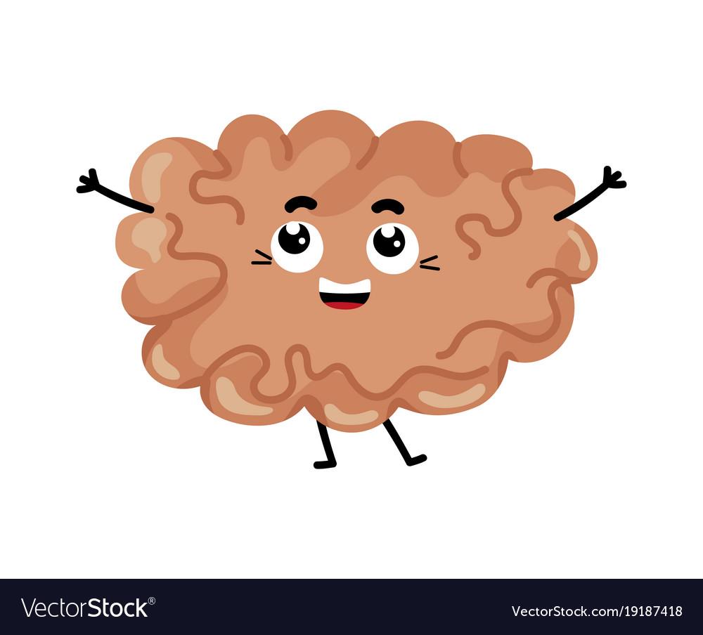 Human brain cute cartoon character