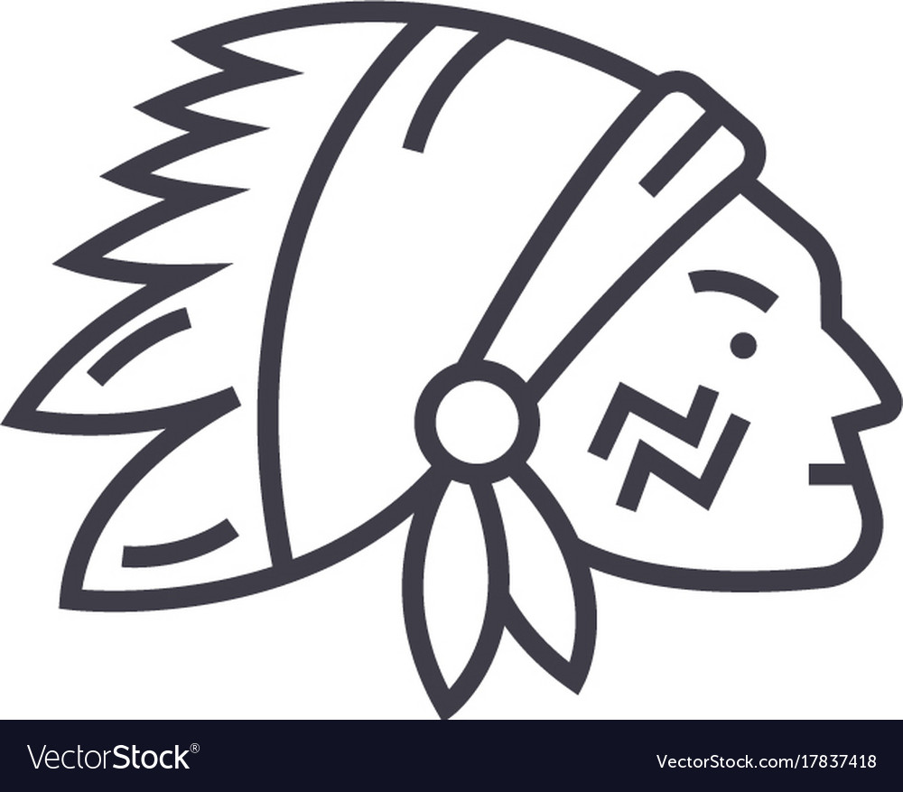 Indian head line icon sign