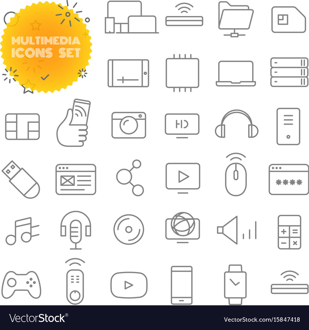 Multimedia outline icon set pictogram set