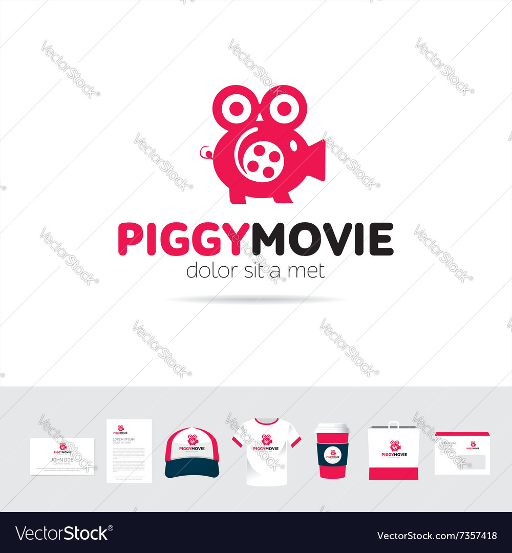 Piggy Movie business company logo template vector image