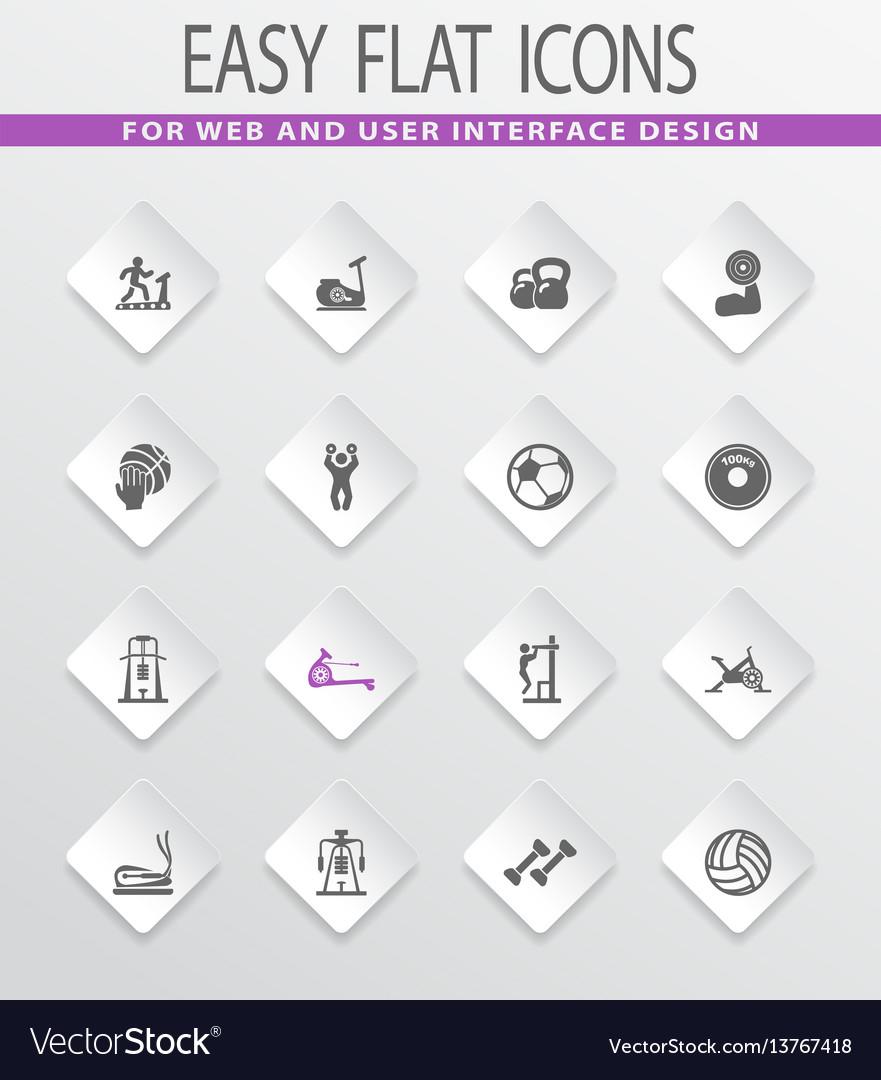 Sport equipments icons set
