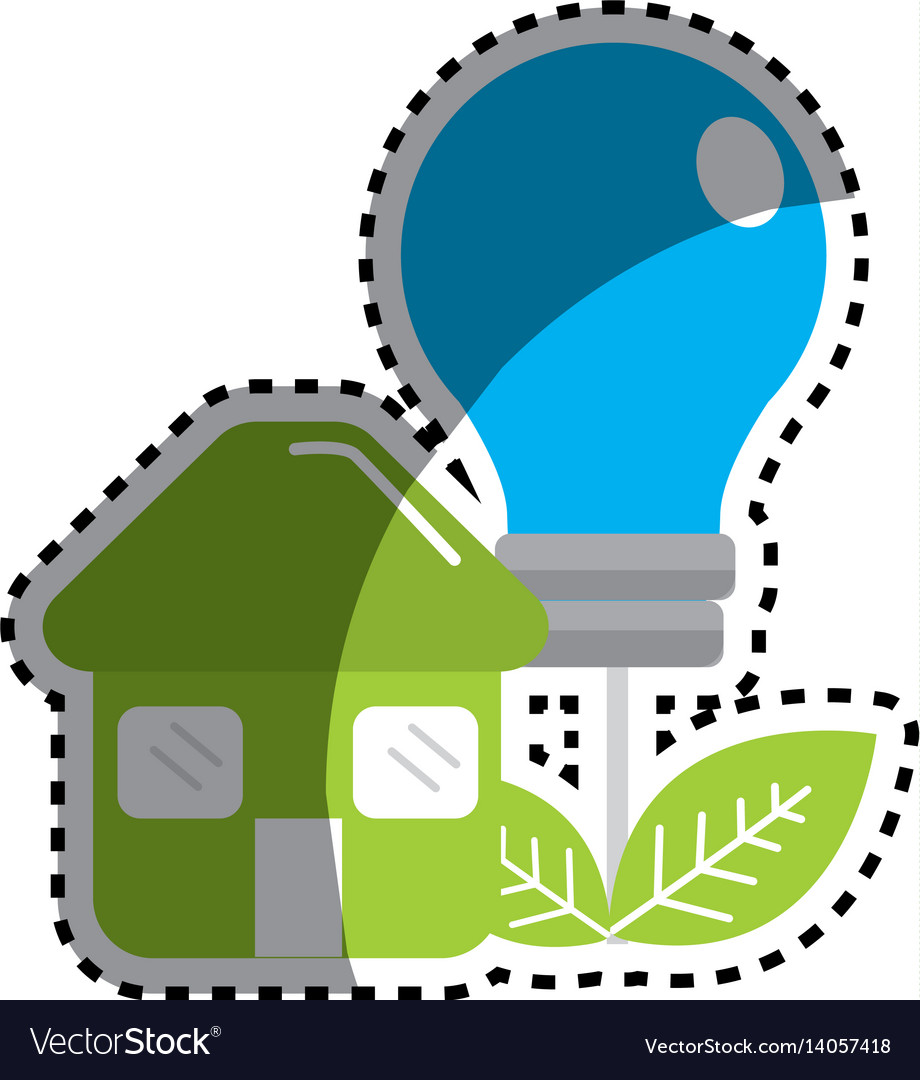 Sticker green house with save bulb plant with vector image