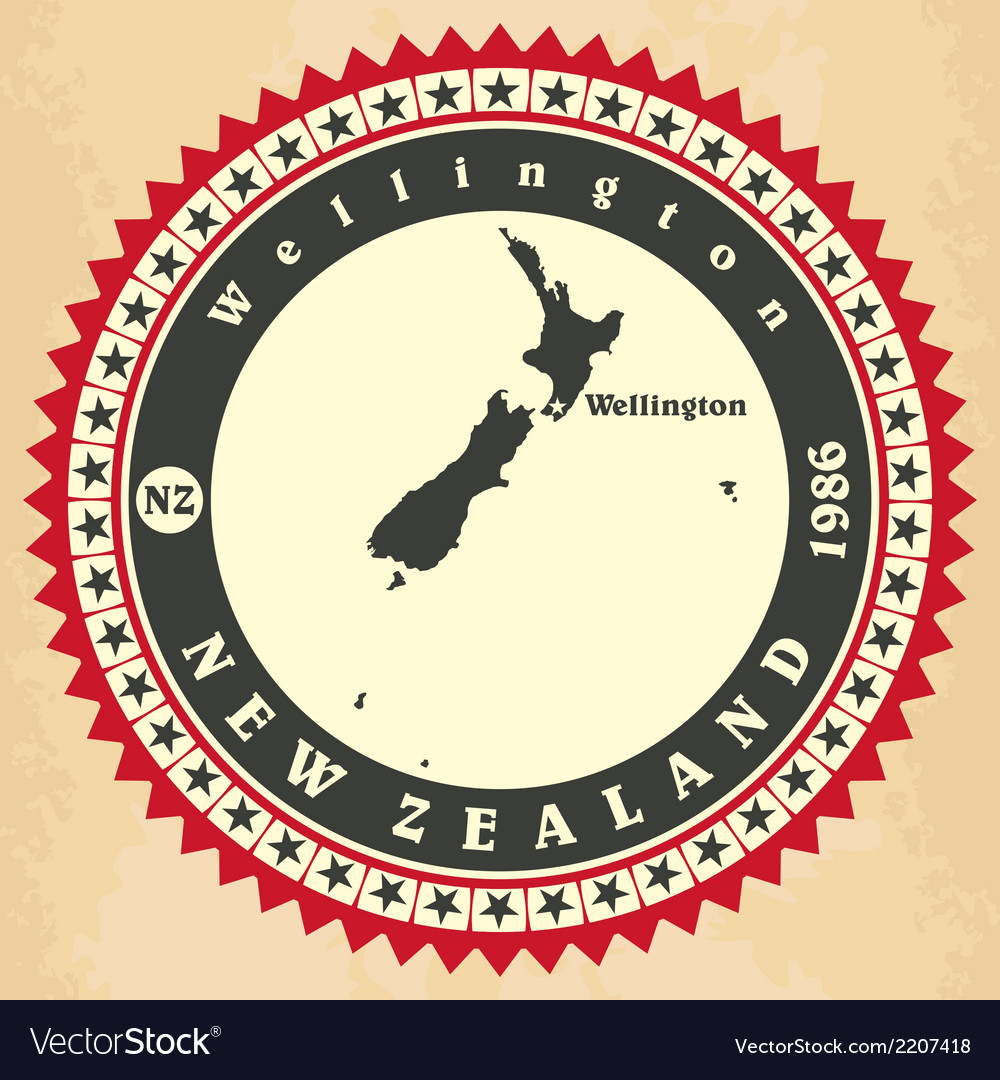 Vintage label-sticker cards of New Zealand
