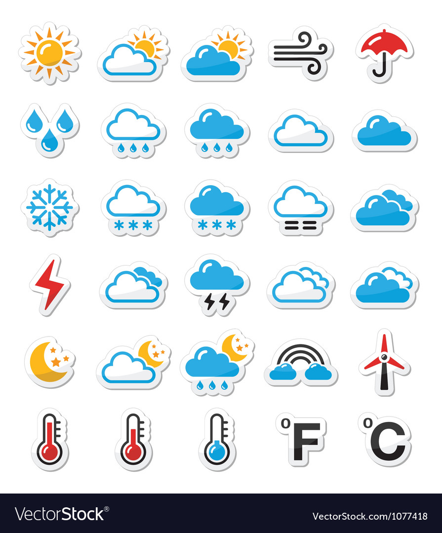 Weather icons set - labels vector image