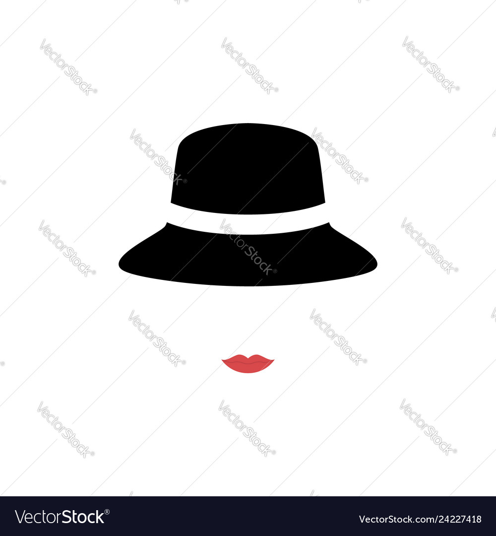 Woman with red lips wearing retro hat