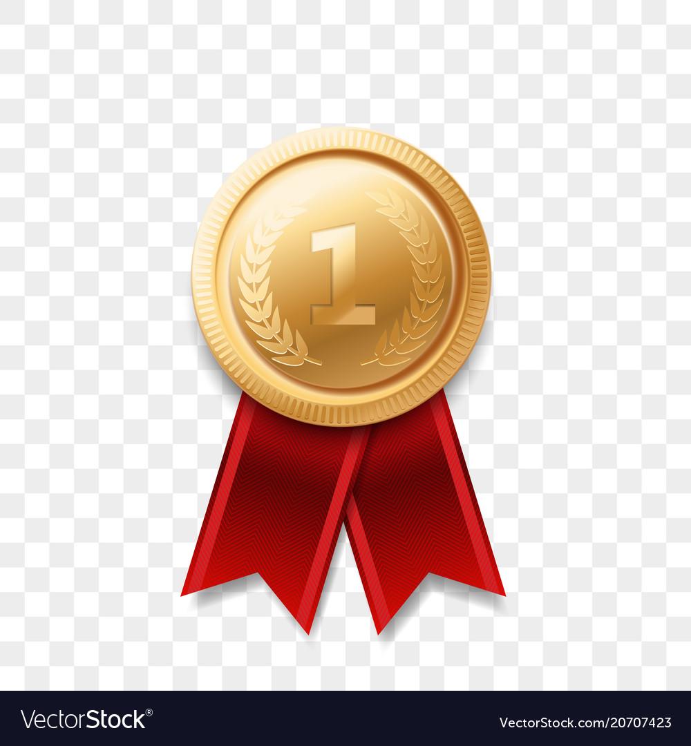 1 place winner golden medal award ribbon vector image