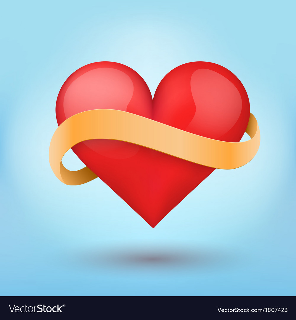 Background beautiful red heart and ribbon
