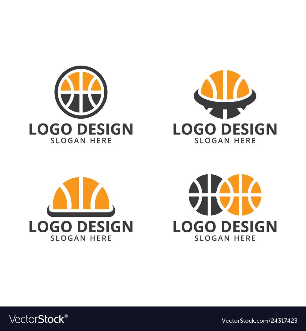 Basketball logo design template on pack