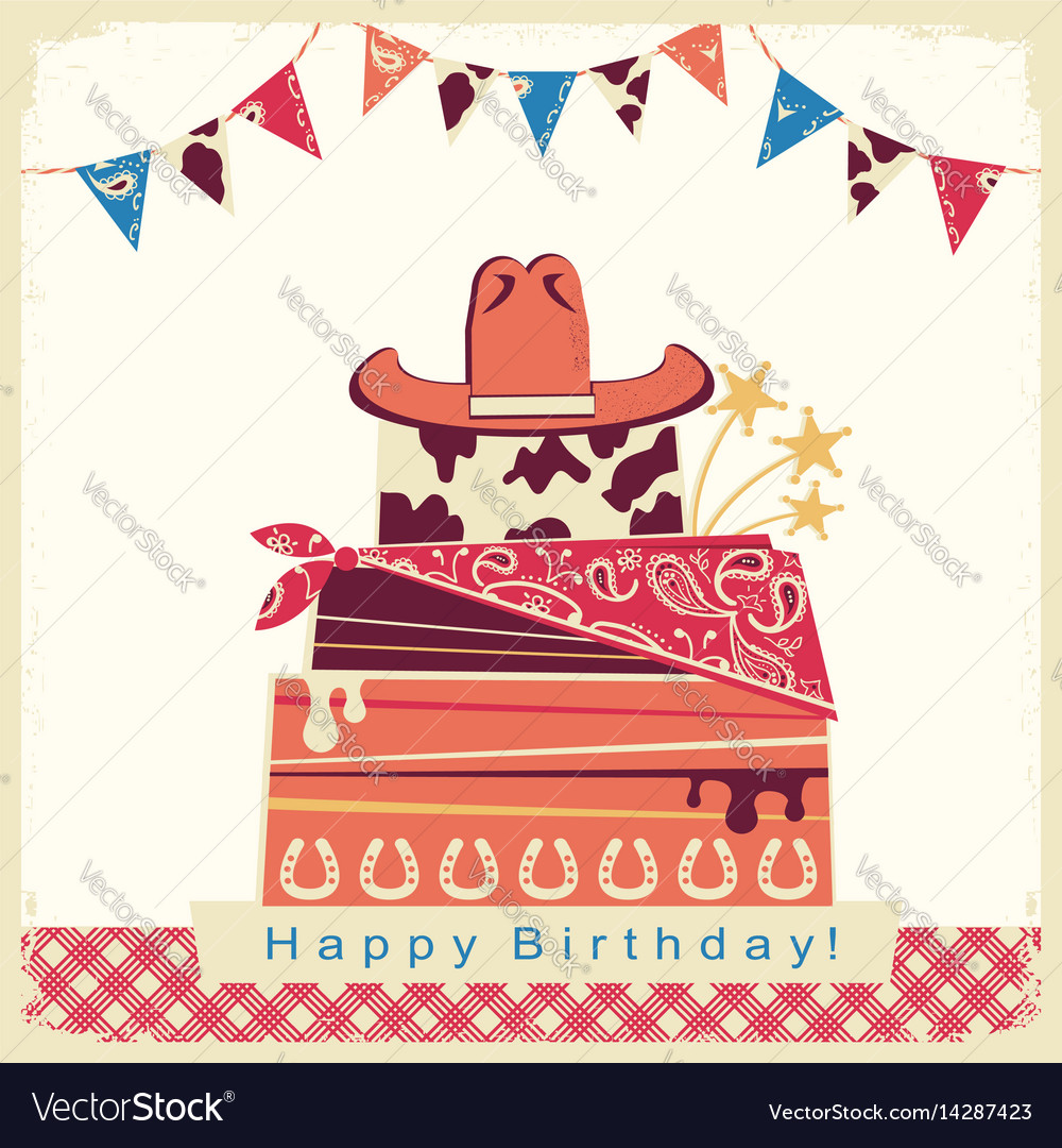Cowboy happy birthday party card with cake and