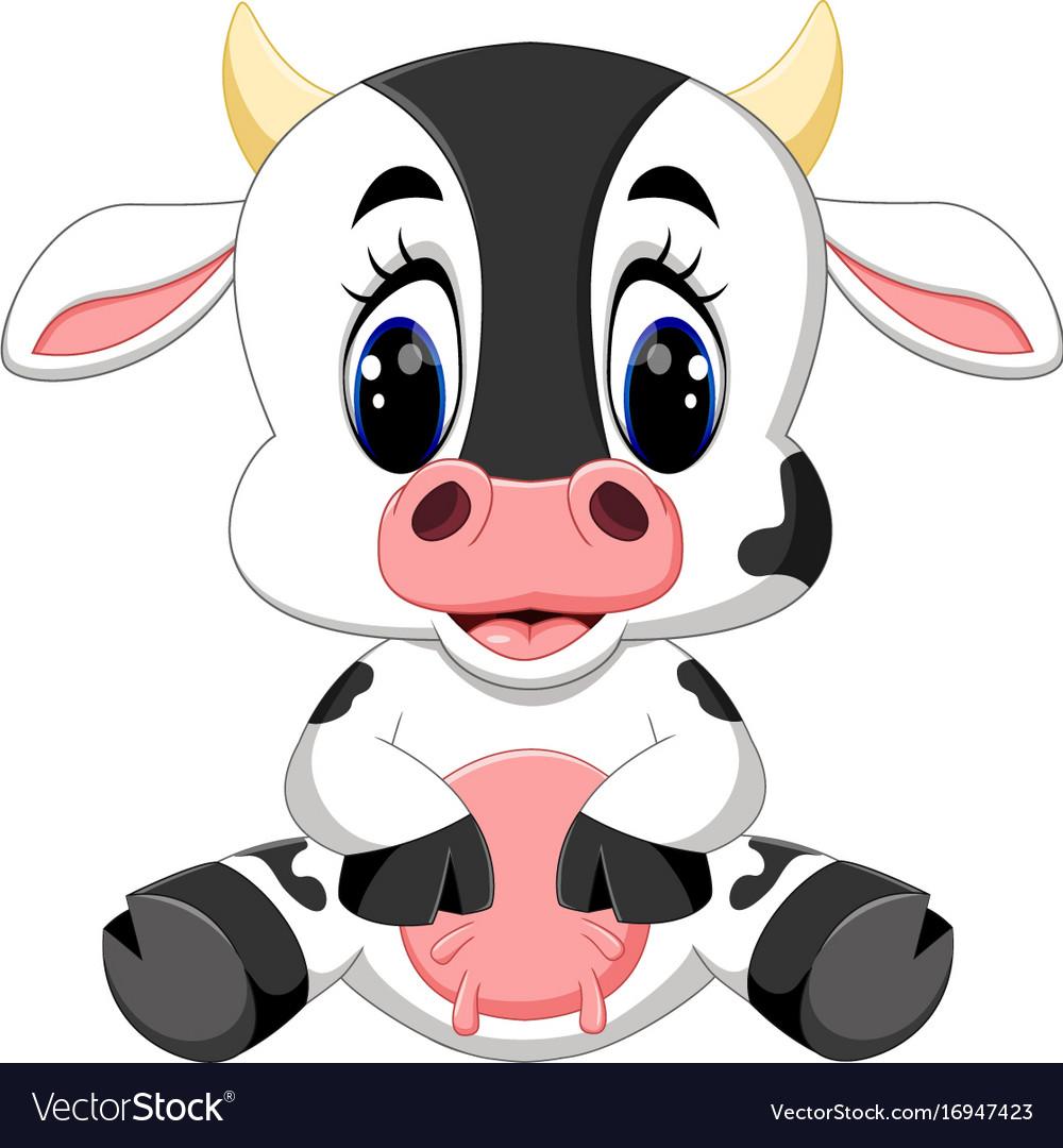 cute baby cow cartoon royalty free vector image rh vectorstock com Cartoon Dog Cartoon Pig