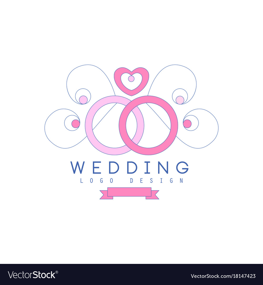cute line logo design with wedding rings and vector image vectorstock