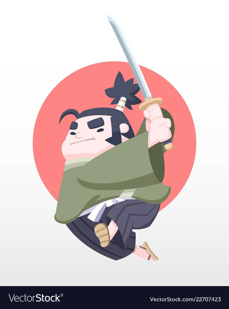 Cute style japanese chubby samurai