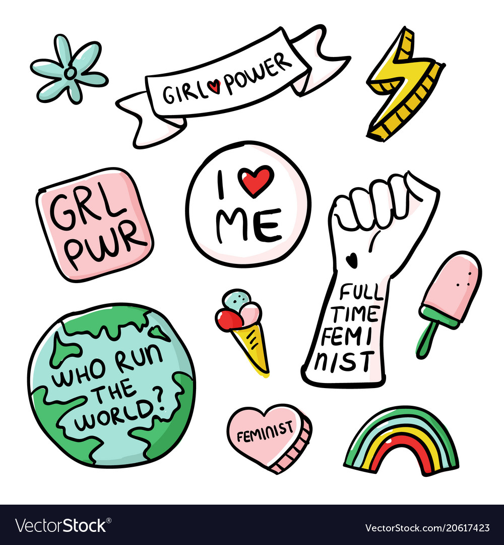 Feminism slogan and patches girl power