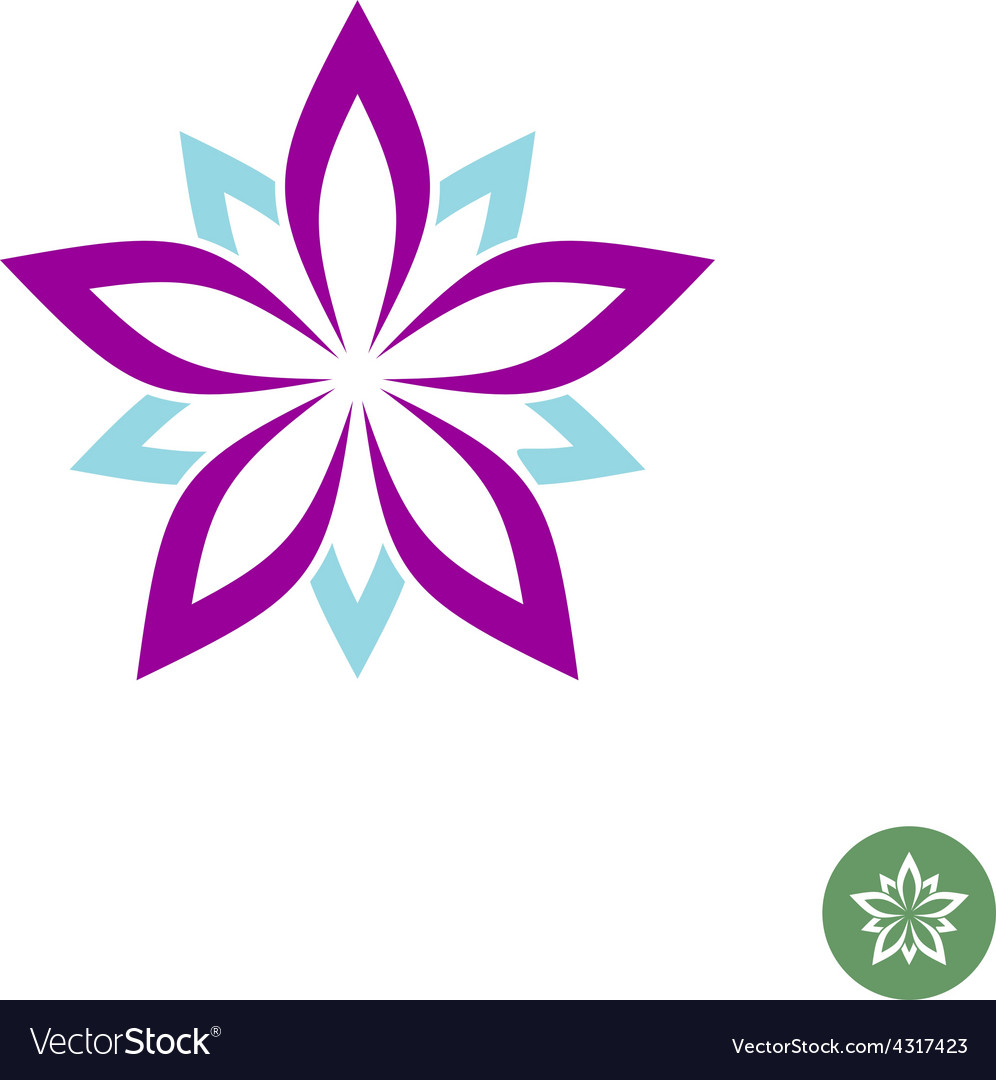 five leaves lotus flower logo template royalty free vector