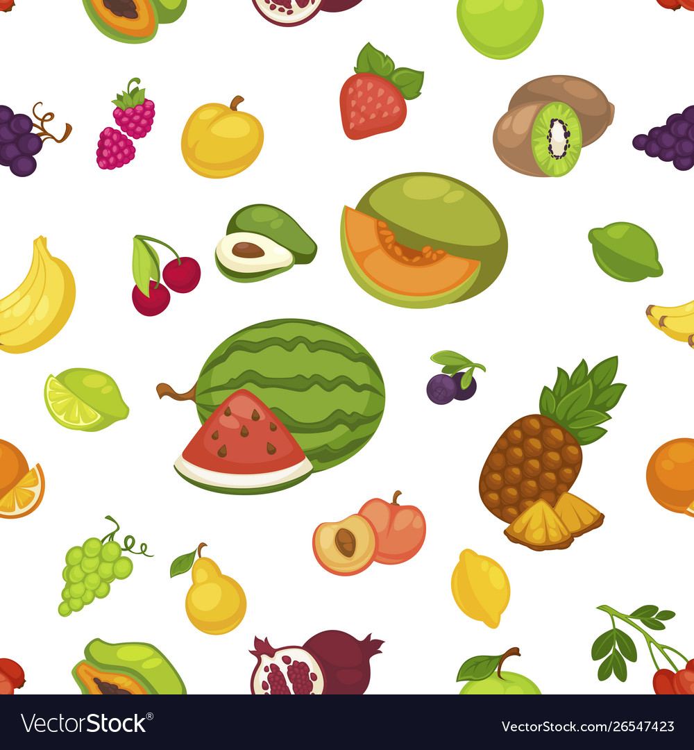 Fruits and berries seamless pattern organic