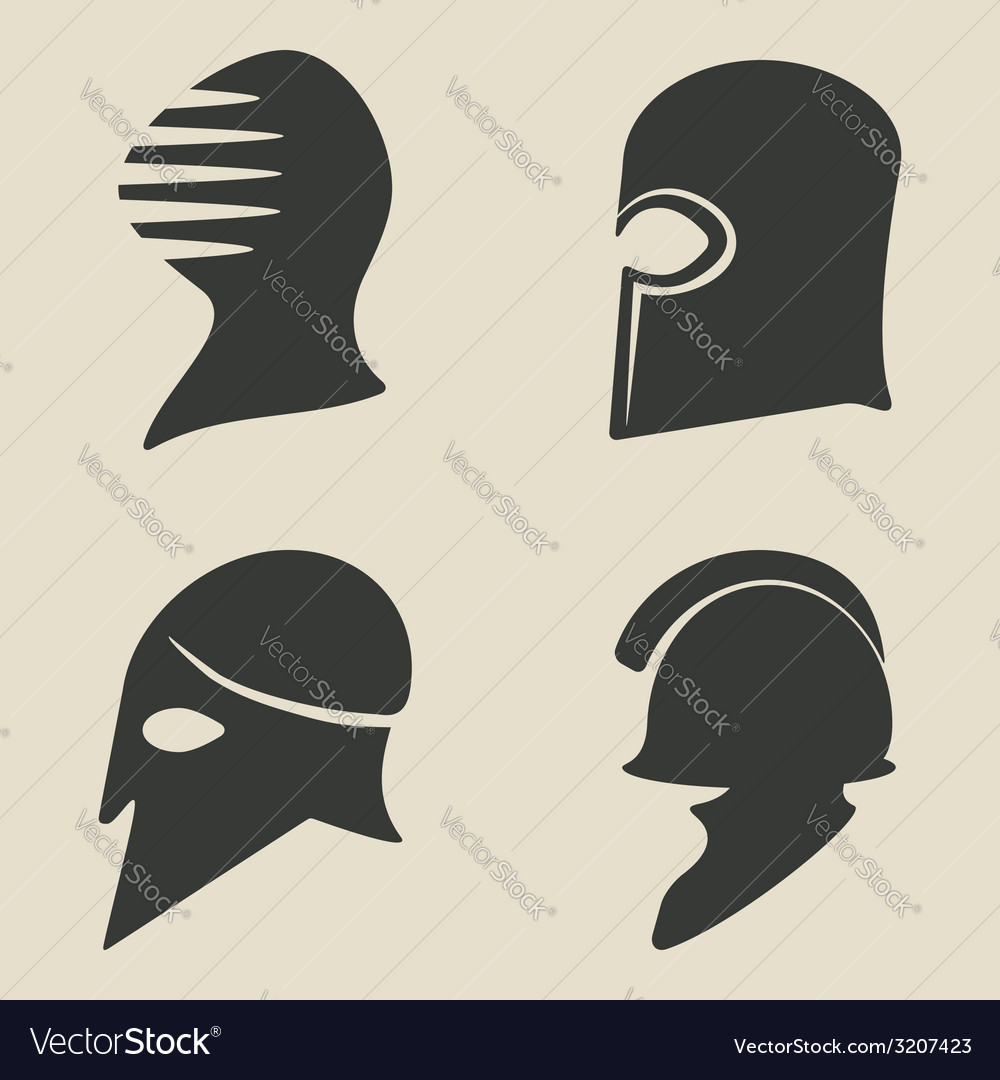 Helmet icon set vector image