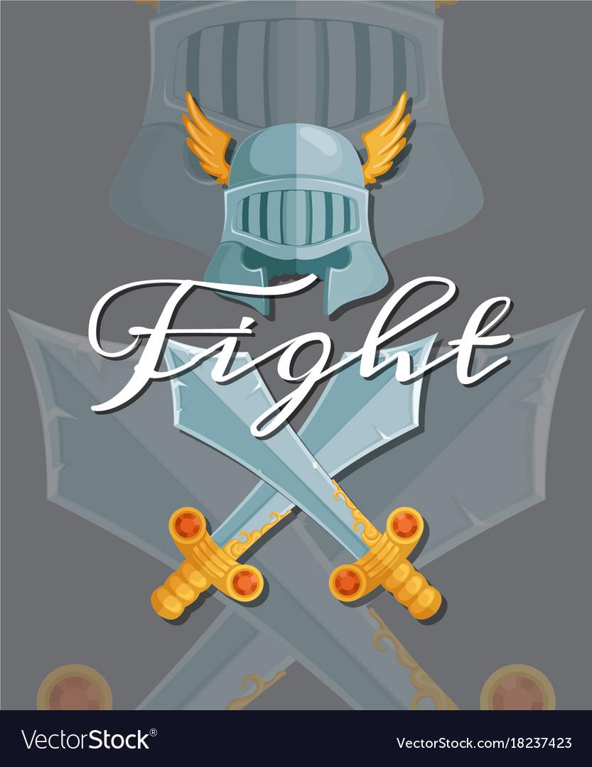Medieval crossed swords and helmet elements